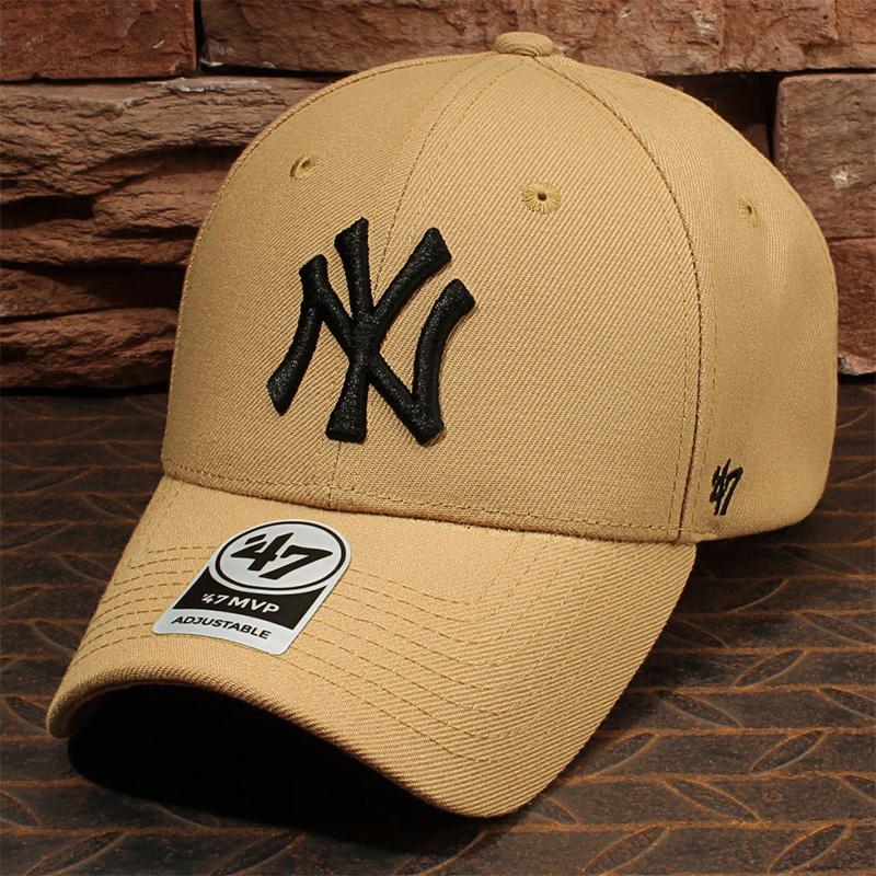 47brand帽子男女洋基队棒球帽卡其色黑标NY弯檐鸭舌帽硬顶ins潮牌