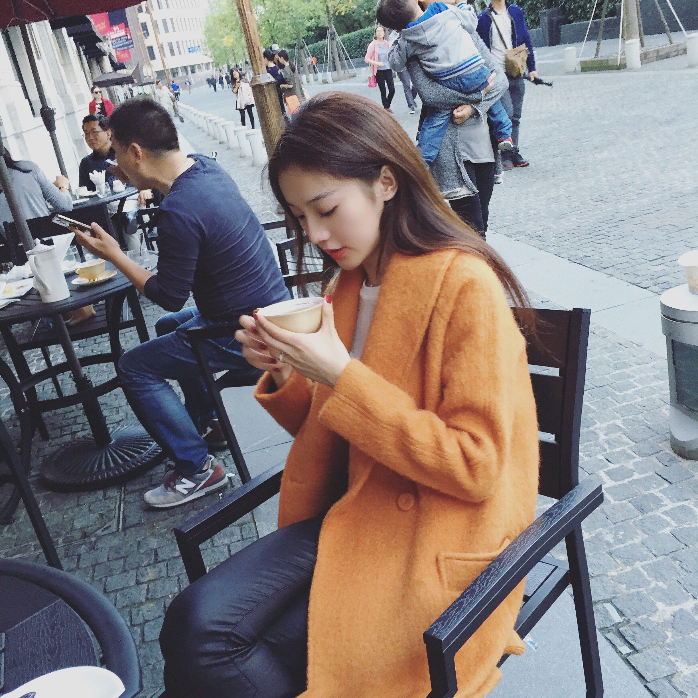 美美的夏夏:店主推荐 超好版型中长款纯色抓绒刷毛呢大衣女外套