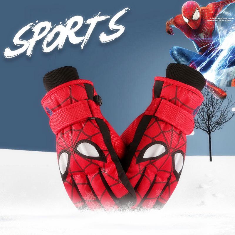 儿童玩雪防水手套冬季男孩蜘蛛侠保暖宝宝户外滑雪五指滑冰手套