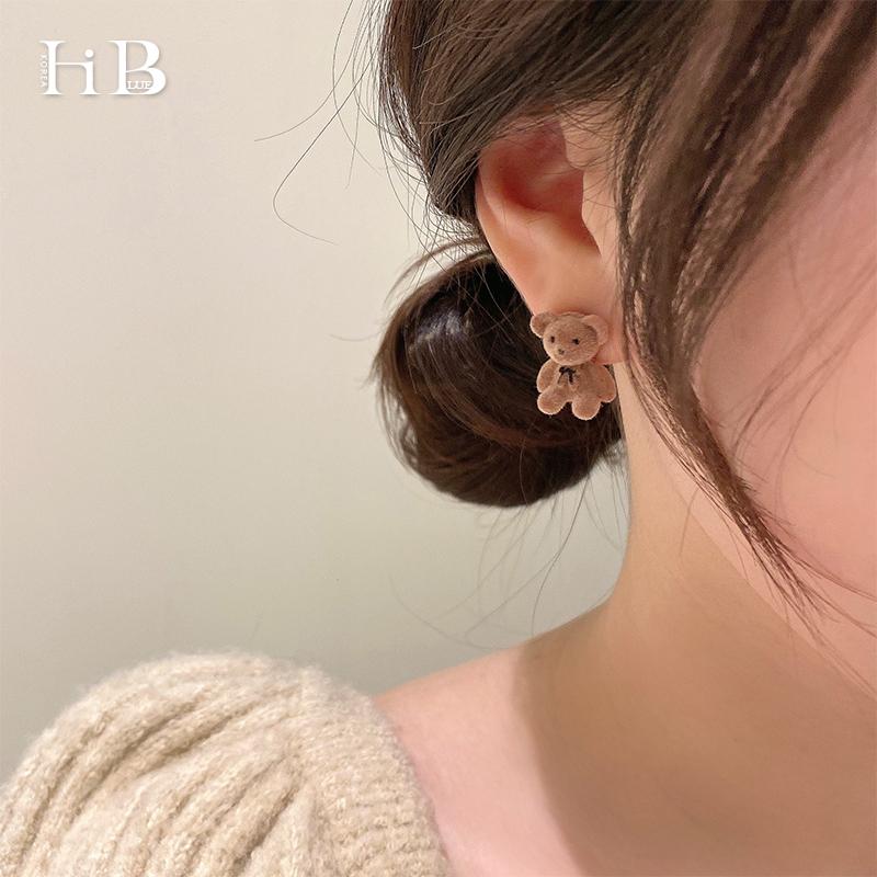 韩国代购可爱植绒立体小熊耳钉女小巧个性银针耳环网红耳饰新款潮