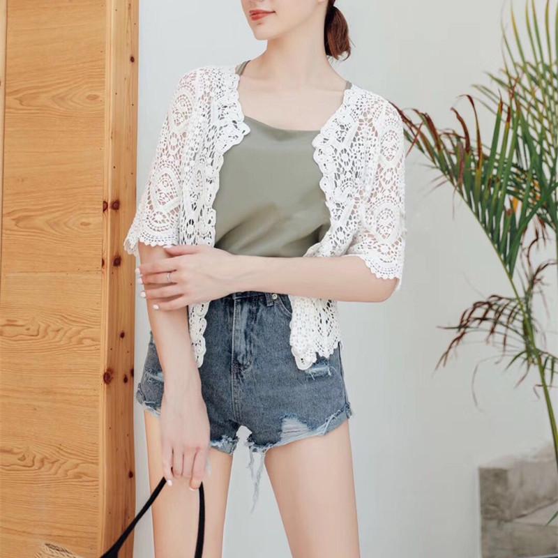 蕾絲小披肩女夏季薄款針織開衫短款配長裙的小外套女吊帶裙外搭夏