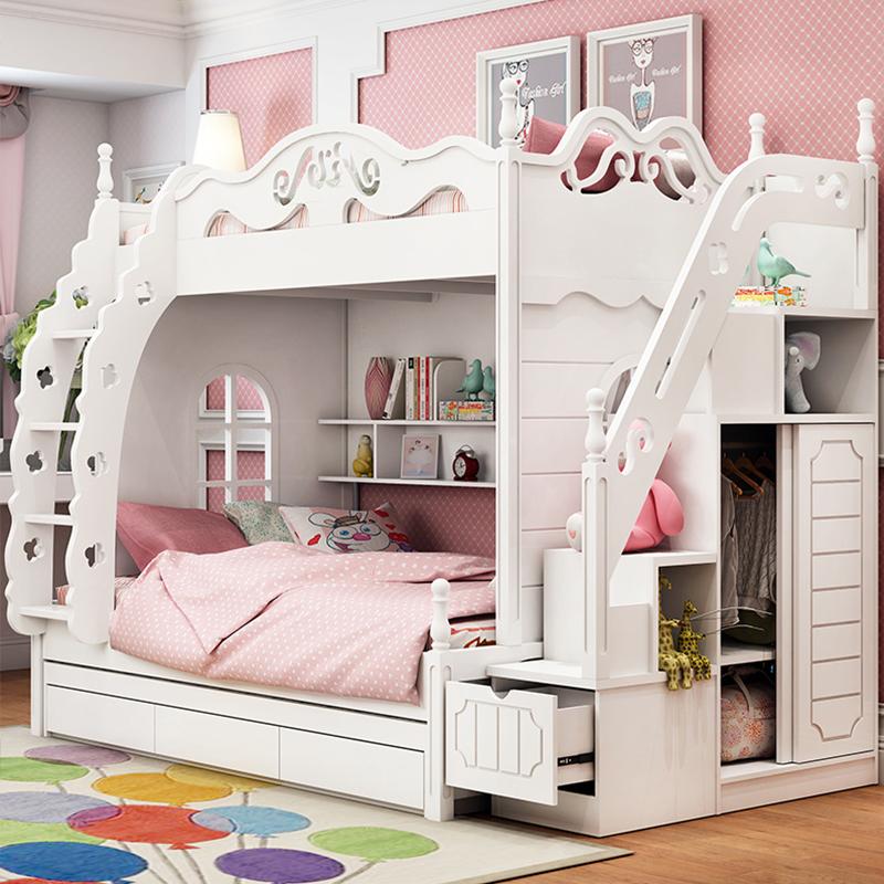 限1000张券韩式高低床儿童床男女孩公主子母床上下床双层床母子床上下铺床