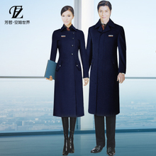 Autumn and winter tooling professional wear woolen coat female long section hotel front desk overalls black stewardess woolen coat