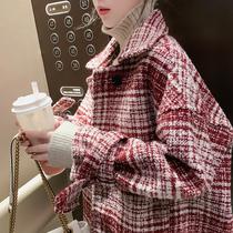 小香风粗花呢短外套女装2019新款毛呢格子冬季百搭韩版宽加厚上衣