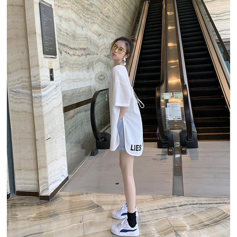 洋气宽松中长款白色短袖T恤女夏装2020新款不规则心机设计感上衣