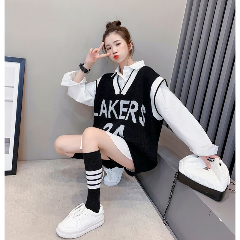 Minus 10 trendy fashion knit vest, small fragrant wind waistcoat, female outer wear, Korean version 2021 new net infrared set