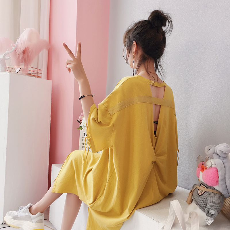 裙子女夏2018新款大码宽松韩版衣服心机连衣裙中长款t恤裙sukol裙
