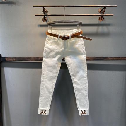 牛仔裤直筒修身女长裤图片