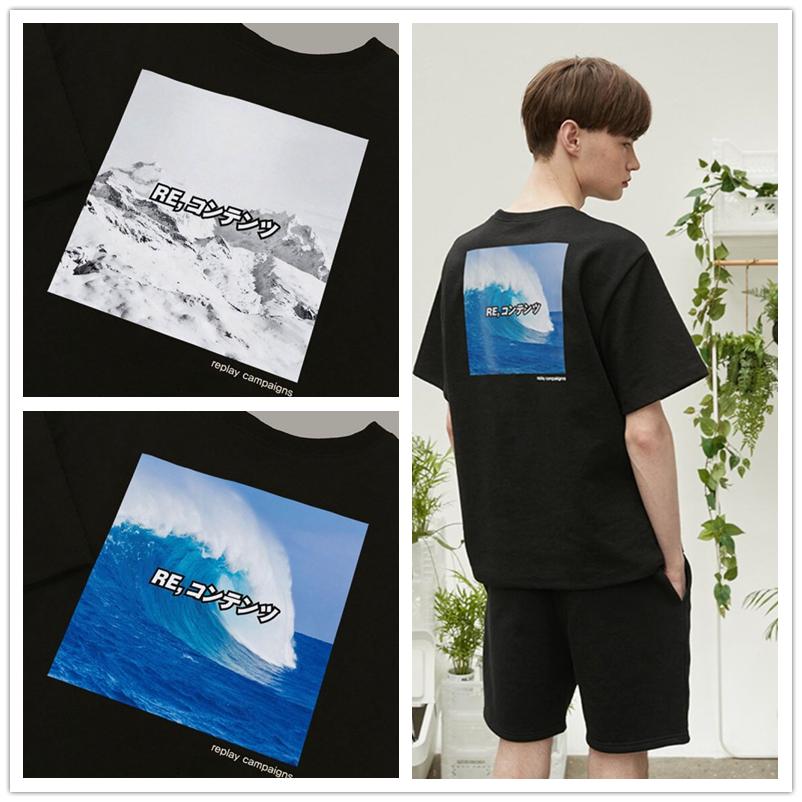 短袖T恤夏季宽松 REPLAY CONTAINER男女经典圆领自然图案海浪
