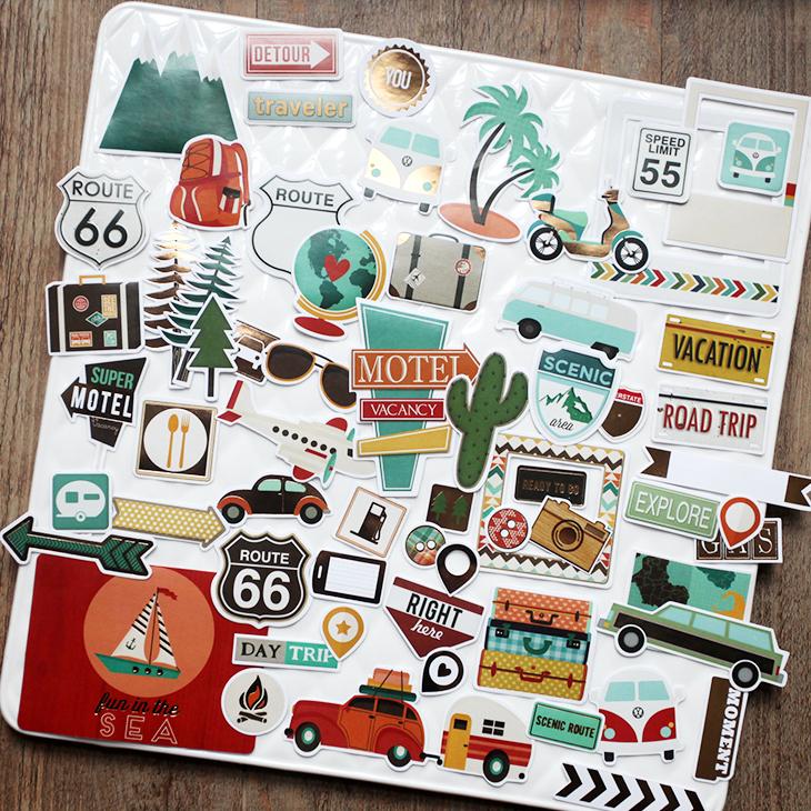 兔子家 烫金素材 手账贴纸  65片  旅行系列预切割不干胶 die cut
