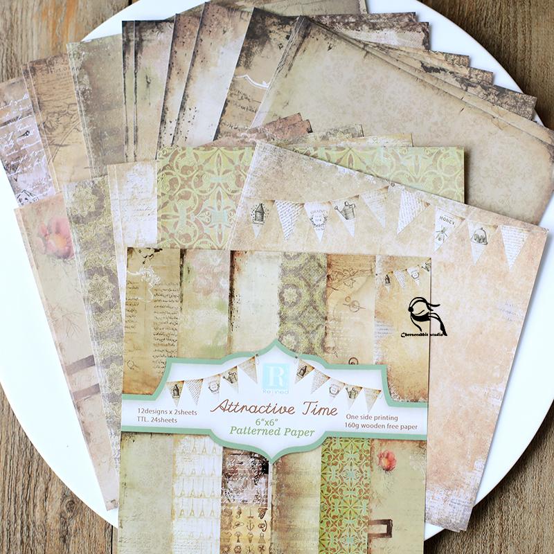兔子家.怀旧系列手账素材纸160G.6*6寸小卡纸.24张入8款可选