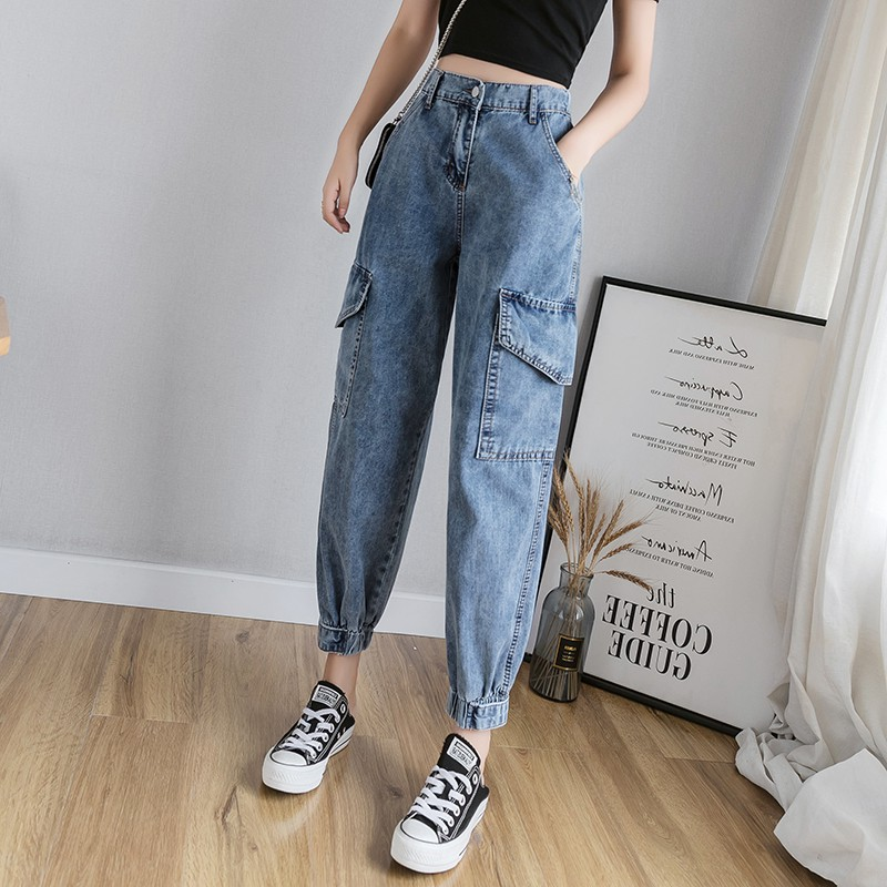Work wear jeans womens spring and autumn 2020 new loose high waisted slim nine point straight tube Harlan radish daddy pants