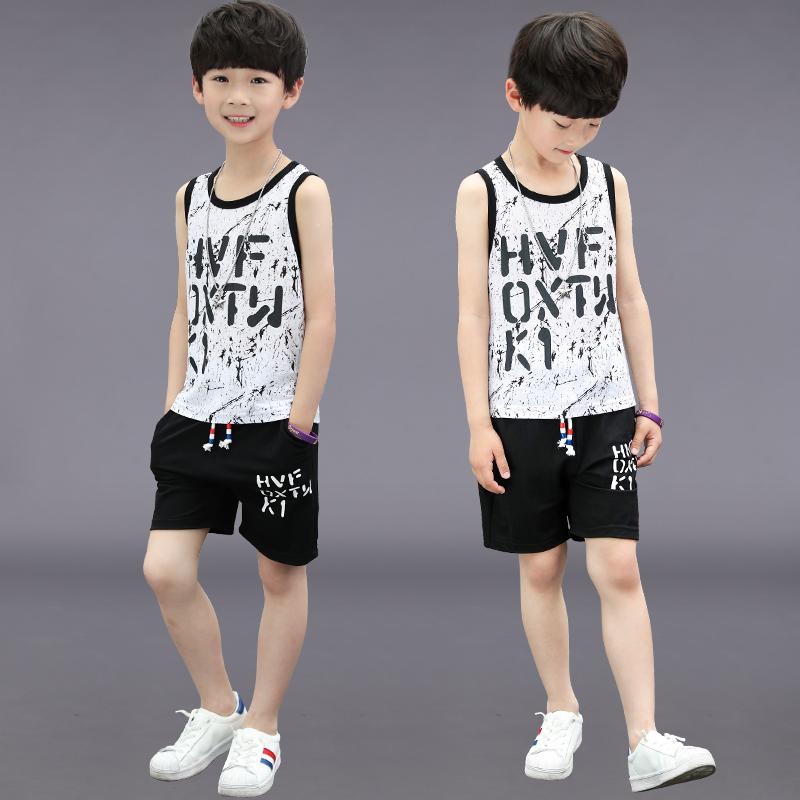 男童夏装套装2018新款中大童休闲运动夏季童装男孩无袖背心两件套