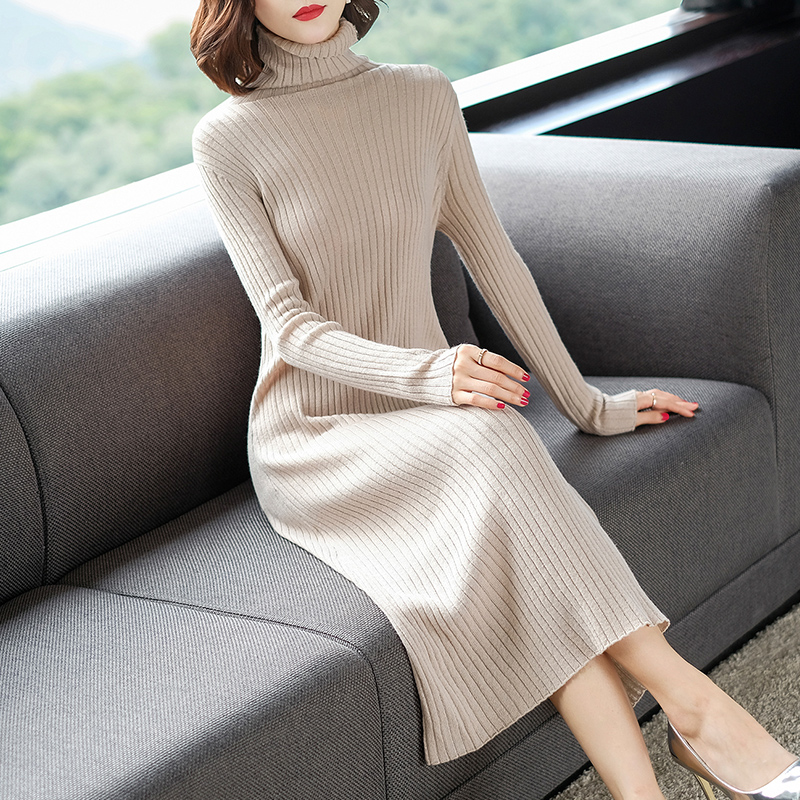 Autumn and winter mid length over knee fit cardigan high neck bottomed sweater winter split cardigan skirt