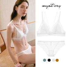 薄款 DEVI 内衣女士夏季 LSSE白色法式 大胸显小文胸蕾丝无钢圈胸罩