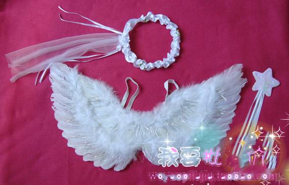 Розовый день цветочные реквизит крылья ангела перо крылья новые три частей комплекта белого