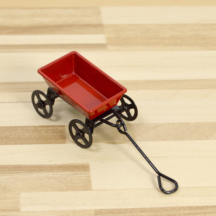 1: 12 simulation doll house accessories horticultural scene red miniature iron trolley Mini Trailer model