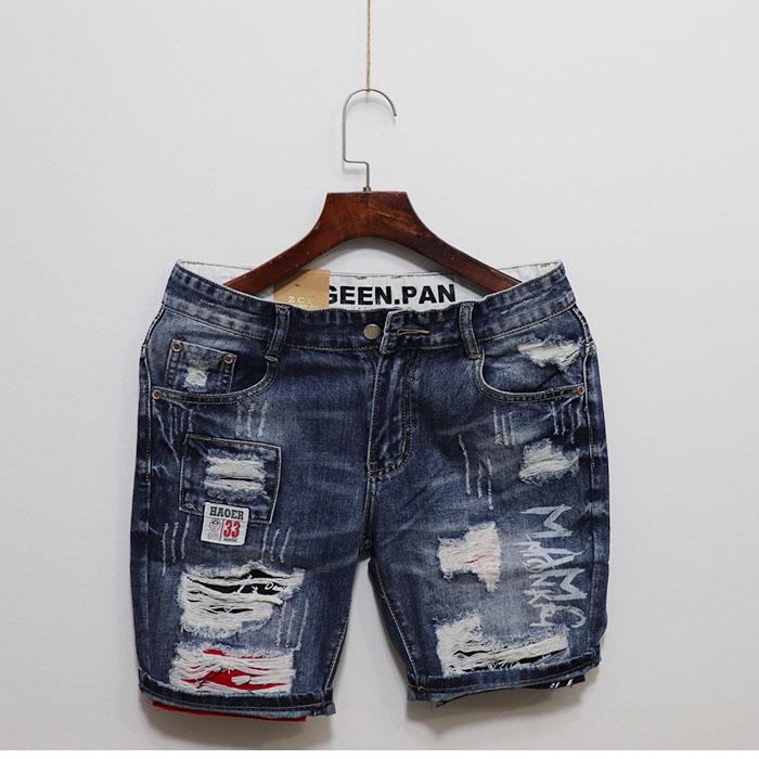 2019 patchwork hole mens summer denim quarter shorts trend pants social network red boys all in Korean