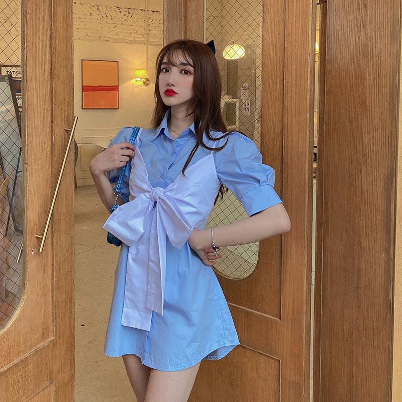 胖mm大码女装2020夏季新品洋气蝴蝶结简约气质衬衫裙遮肚连衣裙女