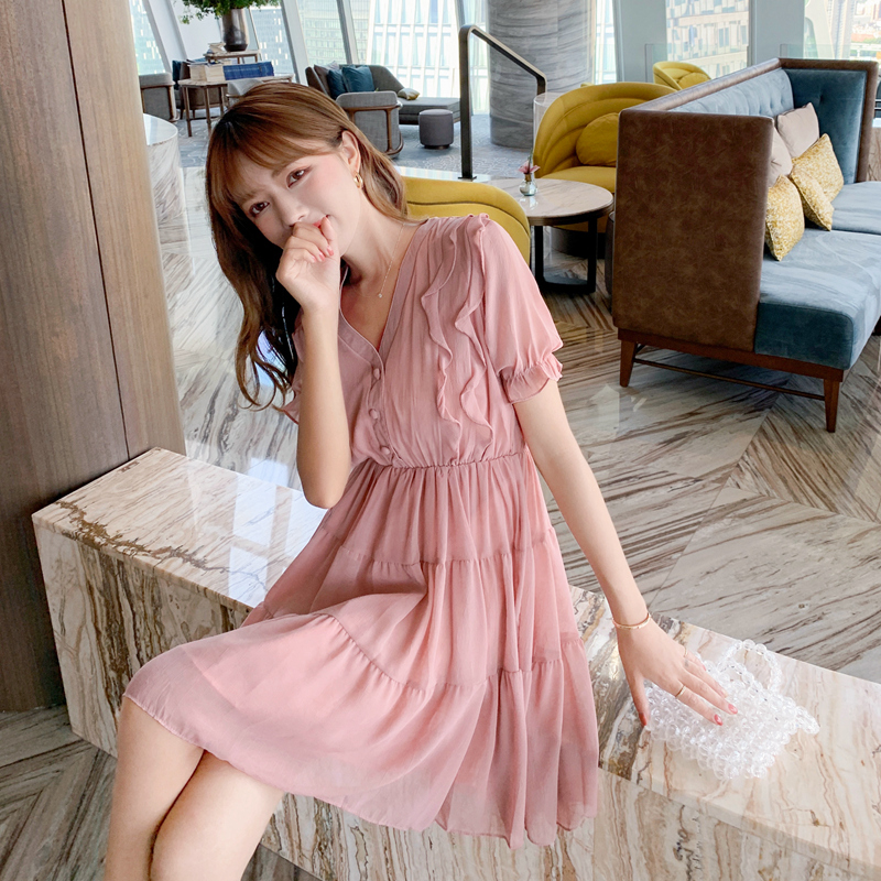 Summer 2020 new fashion French romantic V-neck solid ruffled Short Sleeve Chiffon Dress