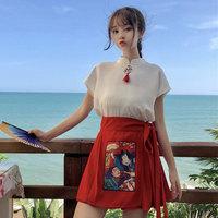 復古中國風中式改良漢服刺繡流蘇短袖盤扣立領修身顯瘦雪紡衫上衣