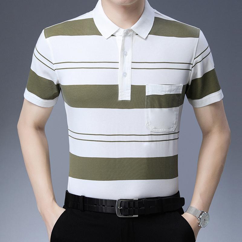 夏季新款条纹带领宽松t恤男短袖翻领丅男士半袖夏季上衣体桖男装