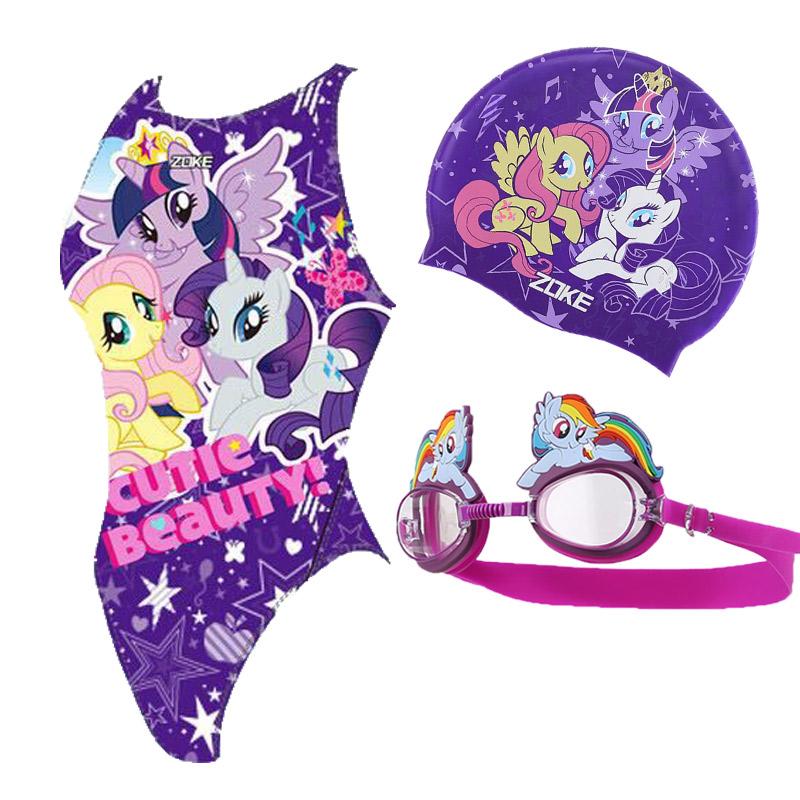 洲克小马宝莉紫色儿童游泳衣连体三角游泳培训专业竞技女童游泳衣