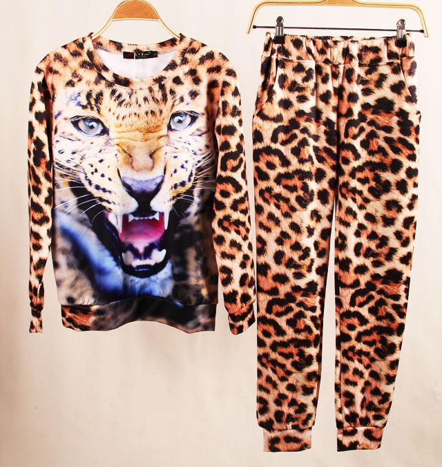 Костюм женский спорт леопардовым принтом бархат леди отдыха подходит Голова тигра