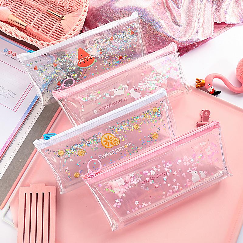 券后8.90元创意流沙笔袋韩国简约女ins大容量铅笔文具袋可爱少女学生文具盒