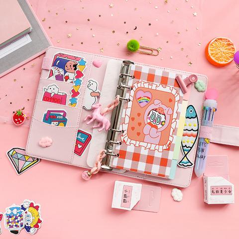 韩国可爱少女心手账本套装笔记本活页网格横线本子手帐本创意文具