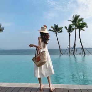 娜丽莎吊带仙女裙挂脖性感露背连衣裙白色夏季无袖长裙子海边度假