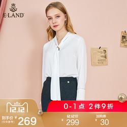 ELAND雪纺衬衫衬衣女2018冬季新款系带挂脖双层袖纯白EEBW84936N