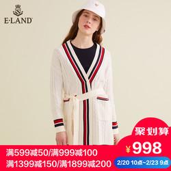 ELAND2019春季新品经典中长款系带拼色针织开襟衫女EECK912W1N