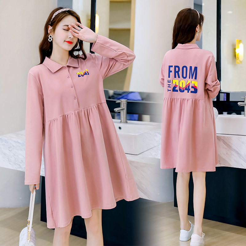 Pregnant womens autumn dress loose early autumn long sleeve shirt top fashion suit spring and autumn shirt skirt
