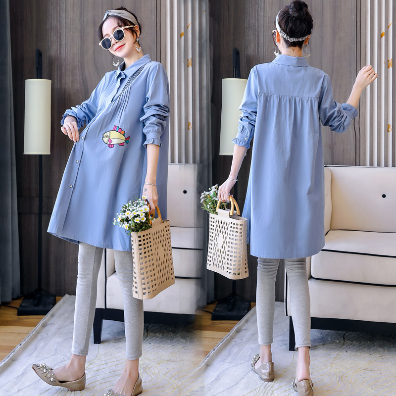 Pregnant womens spring dress 2020 new shirt Polo skirt suit loose small fragrance foreign style shirt blouse women