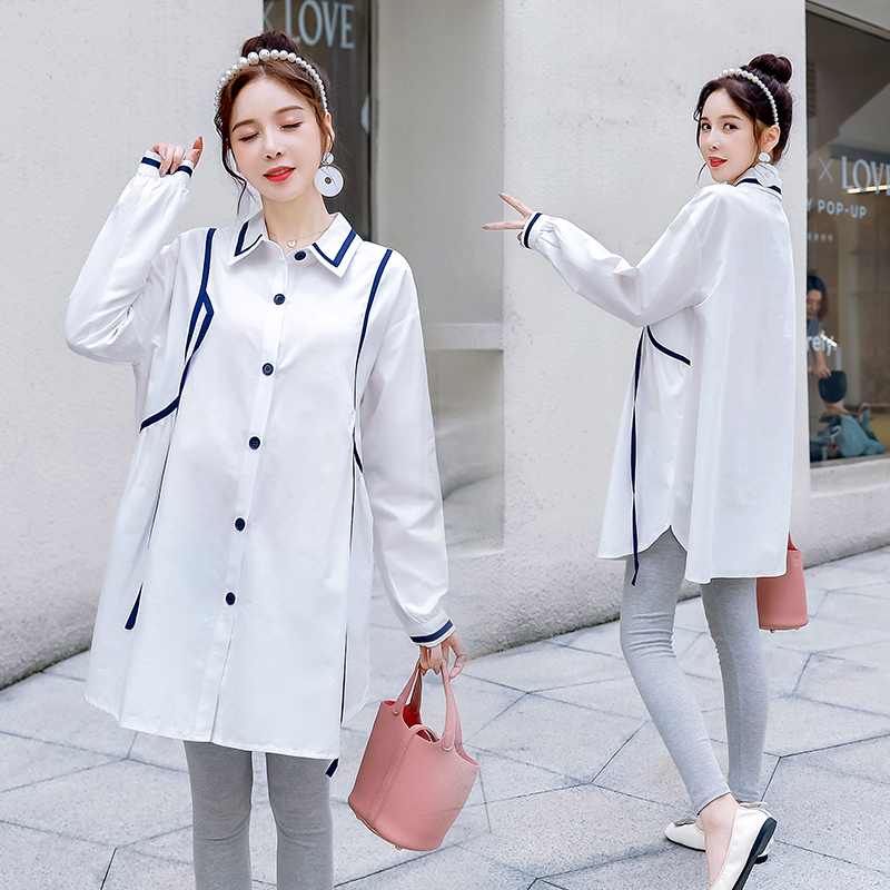 Pregnant womens spring and autumn shirt pregnant mothers fashion 2020 loose professional long sleeve top womens autumn shirt dress