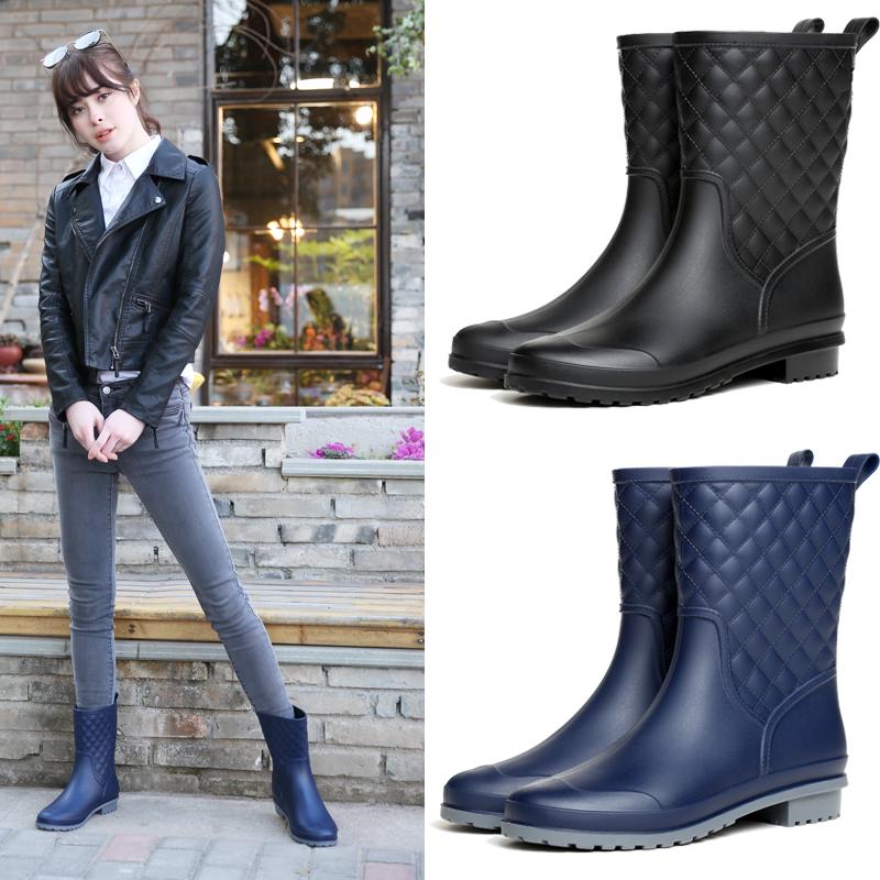 日本时尚雨鞋女款防滑夏天雨靴中筒水鞋平底女雨靴子防水胶鞋水靴