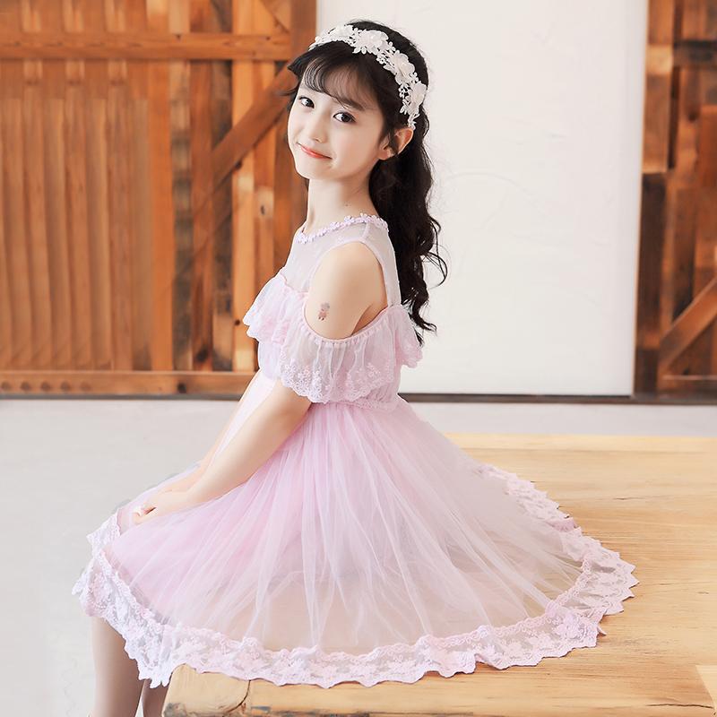 儿童夏装夏天裙子薄款女童洋气露肩公主裙夏款小女孩蓬蓬纱连衣裙