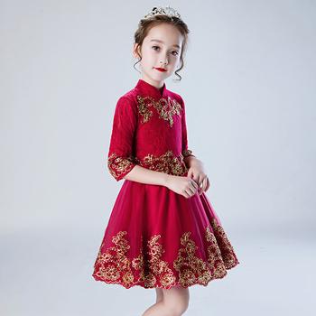 女童连衣裙春装2020新款公主裙秋天儿童装礼服红色中国风蓬蓬裙子