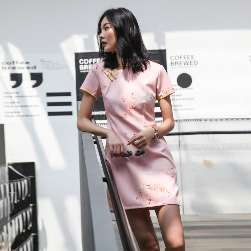 日常新式少女旗袍改良版连衣裙2020夏季短款中国风文艺复古年轻款