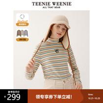 TeenieWeenie小熊条纹T恤半高领打底衫长袖衫德绒黑科技女冬新款