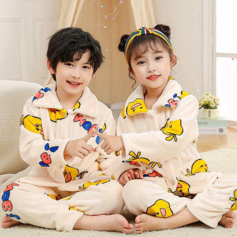 儿童睡衣法兰绒秋冬中大童加厚男童女童长袖宝宝珊瑚绒家居服套装