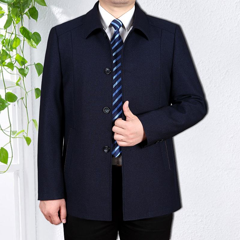 中老年男装夹克春秋冬装扣子上衣大码中年爸爸装加绒厚父亲装外套