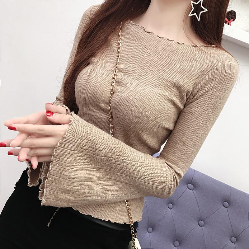 秋冬新款韩版木耳边喇叭袖针织衫修身短款毛衣女长袖打底衫上衣潮