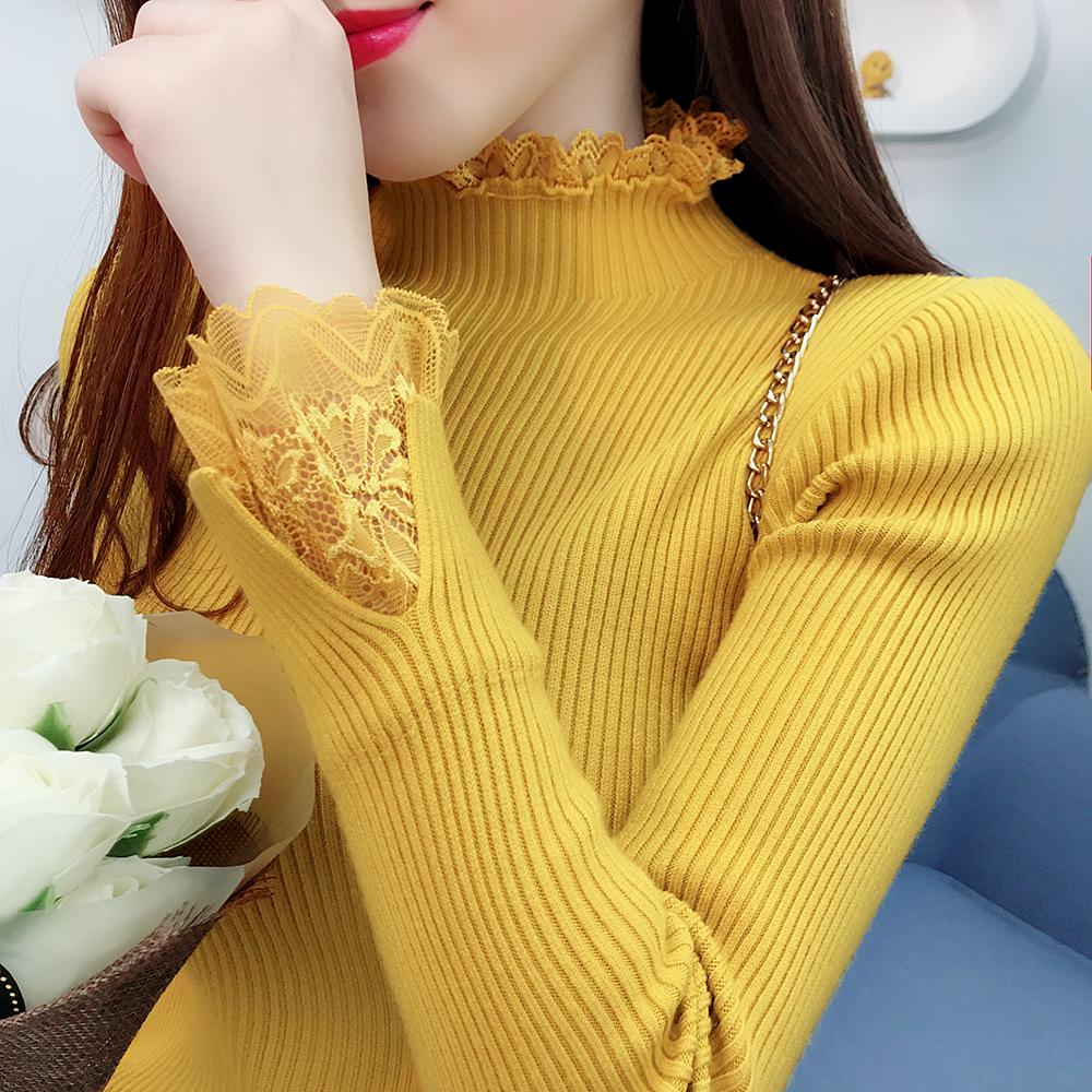 秋冬新款女装蕾丝拼接半高领毛衣女加厚套头修身长袖针织衫打底衫