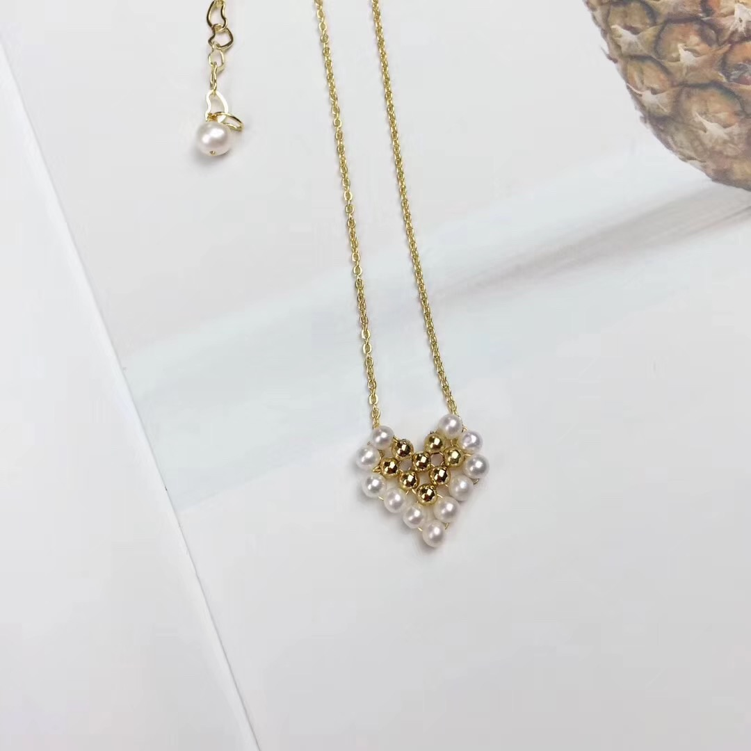 Dream Star Jewelry lovely love NECKLACE 14K imported gold injection technology, chain length 34 + 5cm adjustable