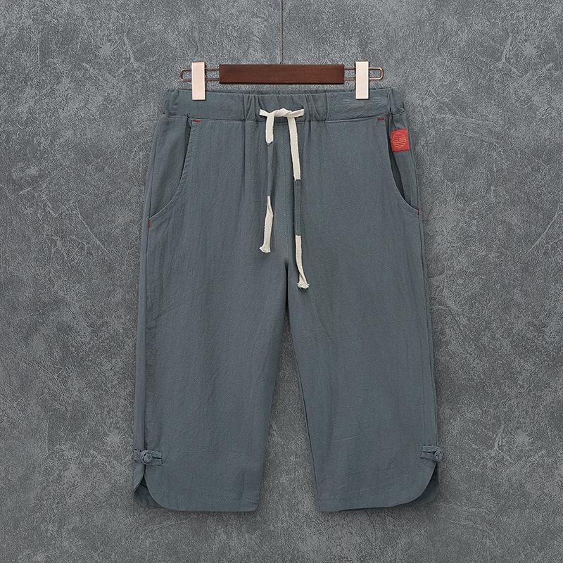 夏季男七分裤中式短裤麻青年复古宽松汉服中国风古风盘扣裤子男装