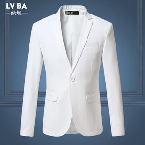 春秋男士单西休闲正装西装外套小西服白色衣服男装上衣职业装套装