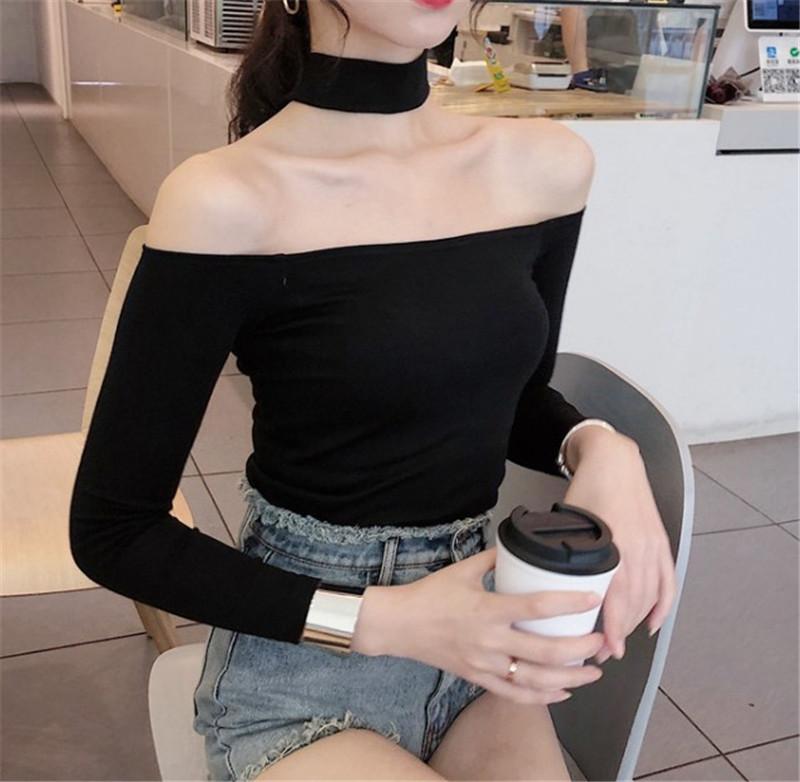 2018秋季女装漏肩韩版一字肩挂脖修身黑色长袖T恤短款纯棉打底衫(非品牌)