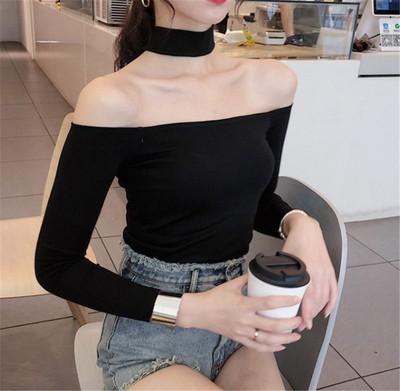 2018秋季女装漏肩韩版一字肩挂脖修身黑色长袖T恤短款纯棉打底衫
